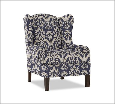 Slipcovers For Queen Anne Chairs pottery_barn_emery_wingback_chair_armchair_graphic_ikat_blue_white ...